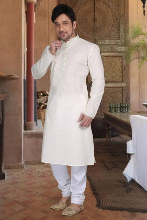 Cotton Fabric Off White Kurta Payjama
