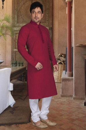 Maroon Cotton Fabric Kurta Payjama