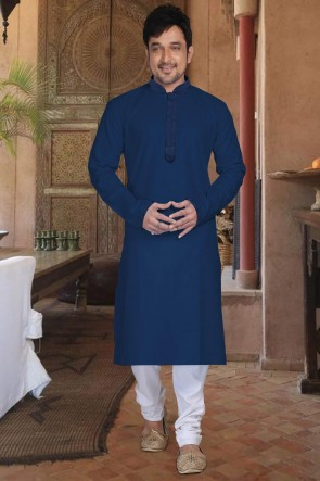 Cotton Fabric Navy Blue Kurta Payjama