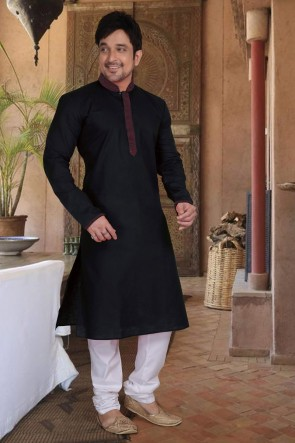 Cotton Fabric Black Stylish Kurta Payjama