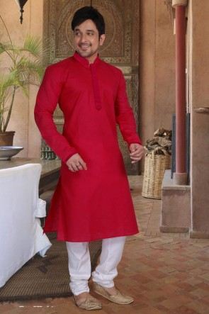 Red Cotton Fabric Kurta Payjama