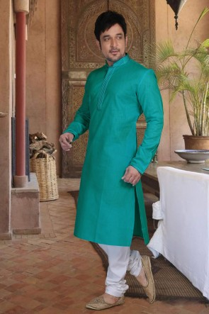 Blue Cotton Fabric Kurta Payjama