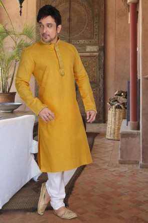 Mustard Cotton Fabric Kurta Payjama
