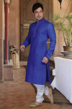 Cotton Fabric Blue Stylish Kurta Payjama