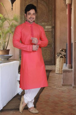 Peach Cotton Fabric Kurta Payjama