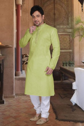 Cotton Fabric Green Stylish Kurta Payjama