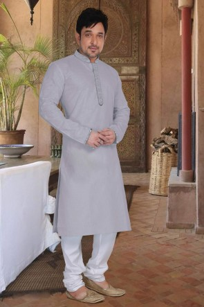 Grey Cotton Fabric Kurta Payjama