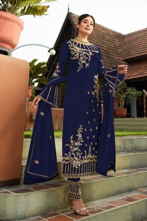 Kritika Kamra Navy Blue Embroidered Faux Georgette Embroidered Salwar Suit With Nazmin Dupatta
