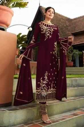 Kritika Kamra Magenta Faux Georgette Fabric Embroidered Salwar Suit Whit Nazmin Dupatta