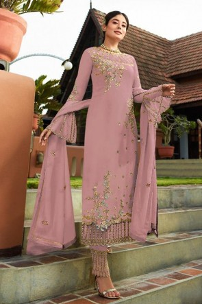 Kritika Kamra Faux Georgette Embroidered Designer Baby Pink Salwar Suit With Nazmin Dupatta