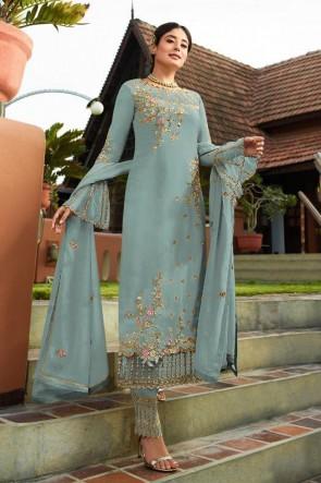 Kritika Kamra Designer Silver Faux Georgette Embroidered Salwar Suit With Nazmin Dupatta