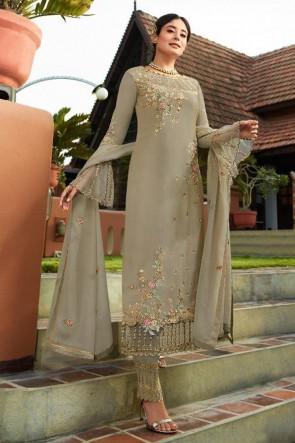 Kritika Kamra Embroidered Faux Georgette Beige Salwar Suit With Nazmin Dupatta