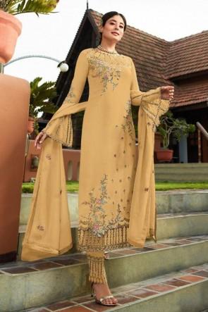 Kritika Kamra Mustard Embroidered Faux Georgette Fabric Salwar Suit Whit Nazmin Dupatta