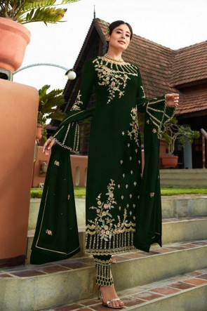 Kritika Kamra Faux Georgette Green Embroidered Salwar Suit With Nazmin Dupatta