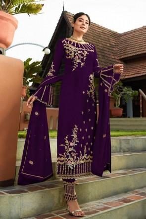 Kritika Kamra Embroidered Faux Georgette Fabric Purple Salwar Suit Whit Nazmin Dupatta
