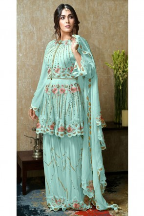 Designer Sky Blue Embroidered And Hand Work Faux Georgette Plazzo Suit With Nazmin Dupatta