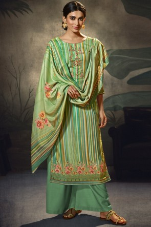 Green Embroidered and  Printed Wool Pashmina Fabric Plazzo Suit WhitWool Pashmina Dupatta