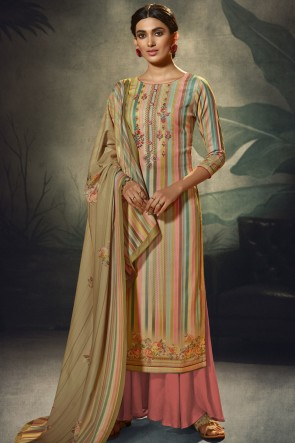 Multi Color Wool Pashmina Embroidered and  Printed Plazzo Suit WhitWool Pashmina Dupatta