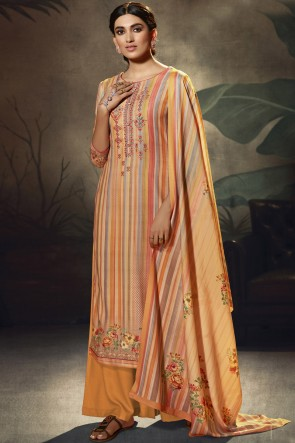 Embroidered and  Printed Wool Pashmina Fabric Orange Plazzo Suit With Wool Pashmina Dupatta