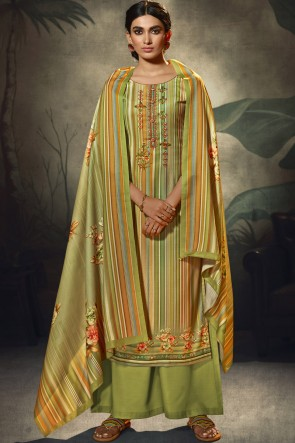 Embroidered and  Printed Wool Pashmina Green Plazzo Suit WithWool Pashmina Dupatta