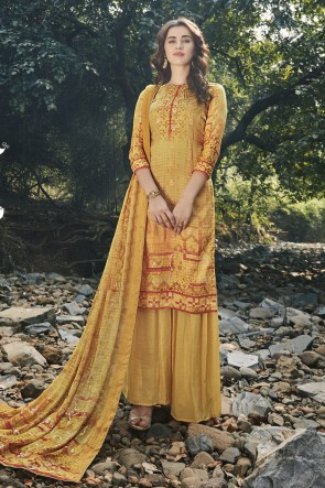 Georgette Satin Designer Yellow Embroidered And Digital Print Plazzo Suit And Dupatta