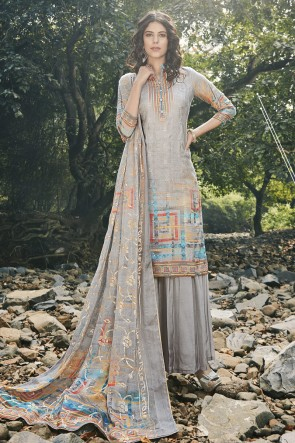 Designer Grey Embroidered And Digital Print Georgette Satin Plazzo Suit And Dupatta