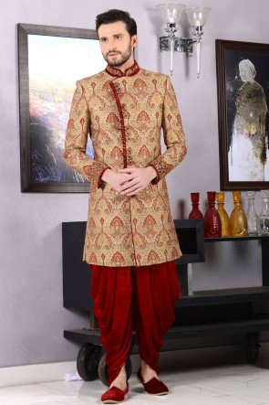 Beautiful Golden Jacquard Embroidered Sherwani
