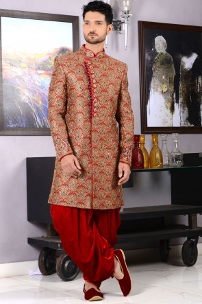 Stylish Red Jacquard Designer Wedding Sherwani