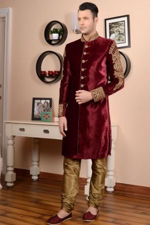 Embroidered Maroon Brocade Designer Wedding Sherwani