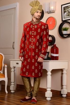 Stylish Red Velvet Embroidered Sherwani