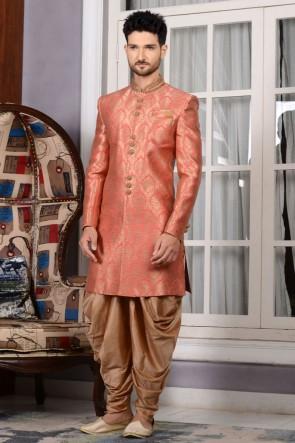 Optimum Peach Jacquard Embroidered Sherwani