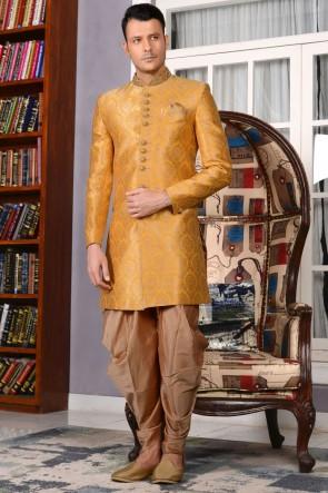 Embroidered Yellow Jacquard Wedding Sherwani