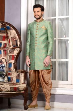 Turquoise Embroidered Designer Sherwani