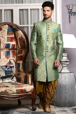 Gorgeous Turquoise Embroidered Wedding Sherwani