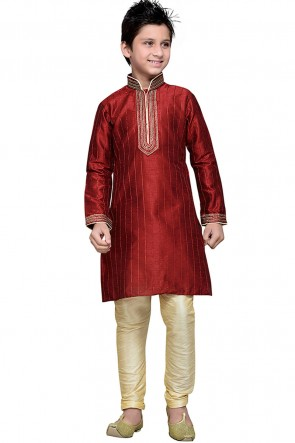 Maroon Embroidered Art Silk Designer Kurta Pajama