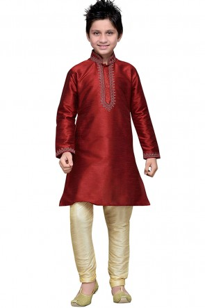 Excellent Maroon Art Silk Embroidered Designer Kurta Pajama