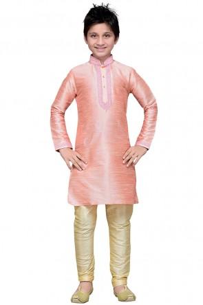 Classic Pink Art Silk Embroidered Designer Kurta Pajama
