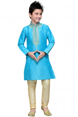 Sky Blue Art Silk Embroidered Designer Kurta Pajama
