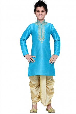 Charming Sky Blue Art Silk Embroidered Designer Kurta Pajama