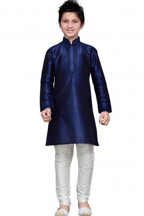 Ultimate Navy Blue Embroidered Art Silk Kurta Pajama