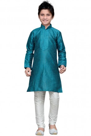 Teal Designer Art Silk Embroidered Kurta Pajama