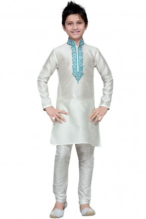 Optimum White Art Silk Designer Embroidered Kurta Pajama