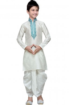 Embroidered White Art Silk Designer Kurta Pajama