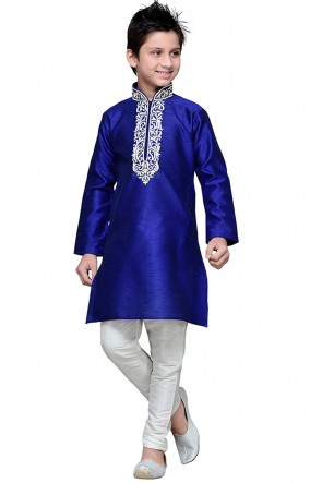 Graceful Navy Blue Embroidered Art Silk Kurta Pajama