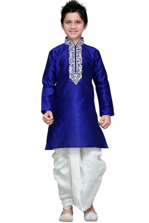 Navy Blue Embroidered Art Silk Designer Kurta Pajama