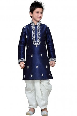 Navy Blue Art Silk Embroidered Designer Kurta Pajama