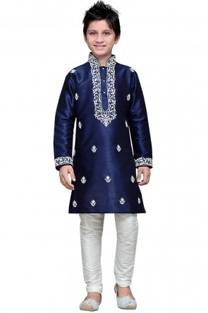 Desirable Navy Blue Embroidered Art Silk Designer Kurta Pajama