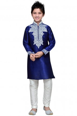Admirable Navy Blue Art Silk Embroidered Designer Kurta Pajama