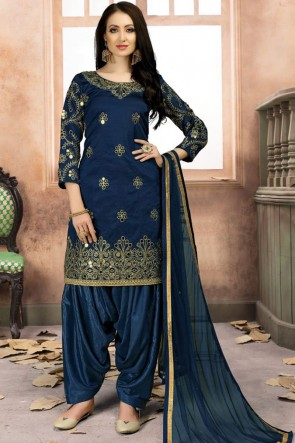 Classic Blue Silk Embroidered Patiala Salwar Suit