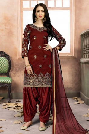 Excellent Maroon Silk Embroidered Patiala Salwar Suit